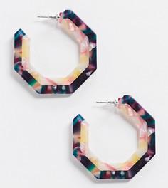 Черепаховые шестиугольные серьги-кольца Reclaimed Vintage inspired-Мульти