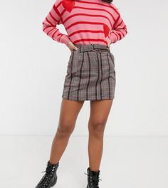 Красная мини-юбка в клетку с поясом и D-образной пряжкой Brave Soul Petite-Мульти