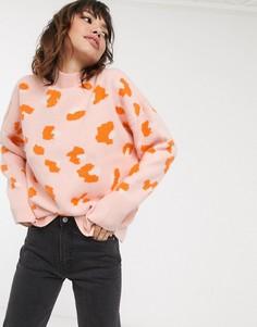 Джемпер с леопардовым принтом и высоким воротом French Connection-Оранжевый