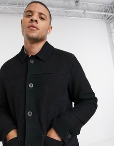 Черная замшевая куртка ASOS DESIGN-Черный