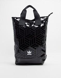 Черная сумка-шоппер с геометрическим принтом и логотипом-трилистником adidas Originals-Черный