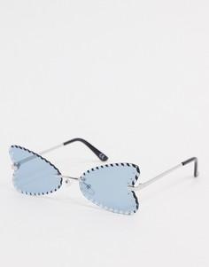 """Серебристые солнцезащитные очки \""""бабочка\"""" со стразами ASOS DESIGN-Серебряный"""