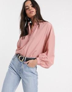 Розовая рубашка с объемными рукавами Vila-Розовый