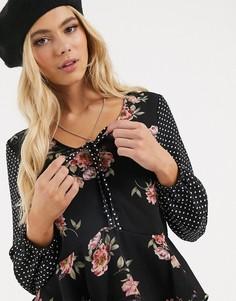 Блузка с цветочным принтом Brave Soul-Мульти