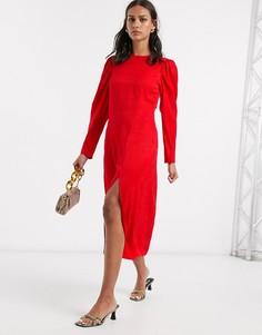 Красное платье миди с объемными рукавами & Other Stories-Красный