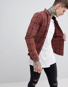 Зауженная эластичная рубашка в клетку ASOS DESIGN-Красный