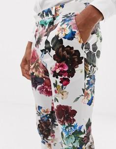Зауженные брюки с цветочным принтом ASOS DESIGN wedding-Белый