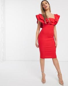 Красное платье миди со спущенными плечами Vesper-Красный