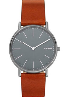Швейцарские наручные мужские часы Skagen SKW6429. Коллекция Leather