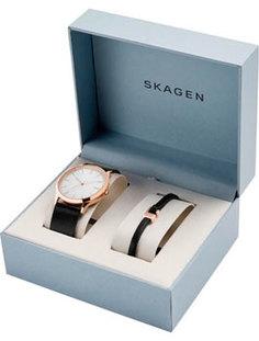 Швейцарские наручные мужские часы Skagen SKW1102. Коллекция Leather