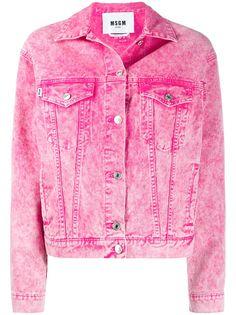 MSGM джинсовая куртка с эффектом потертости