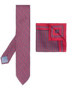 Brioni комплект из платка и галстука с геометричным принтом