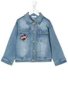 Monnalisa джинсовая куртка Minnie Mouse с пайетками
