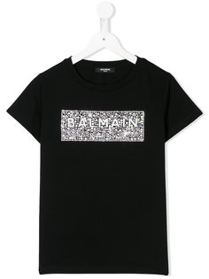 Balmain Kids футболка со стразами и логотипом