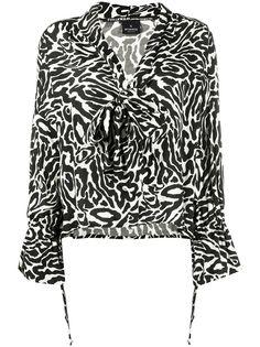 Pinko блузка с завязками и леопардовым принтом
