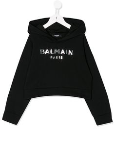 Balmain Kids худи с длинными рукавами и логотипом