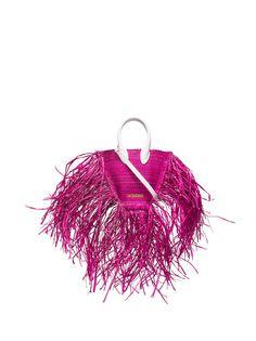 Jacquemus мини-сумка Le petit Baci из рафии с бахромой