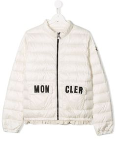 Moncler Kids куртка с оборками и логотипом