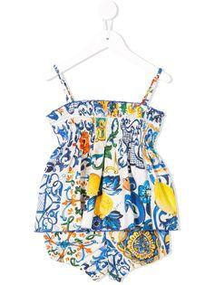 Dolce & Gabbana Kids комплект из блузки и брифов с принтом Majolica