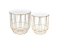 Набор кофейных столиков (2 шт) (garda decor) золотой 34x36x34 см.