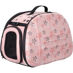 Сумка-переноска для животных IBIYAYA Складная бледно-розовая в цветочек 30x46x32 см