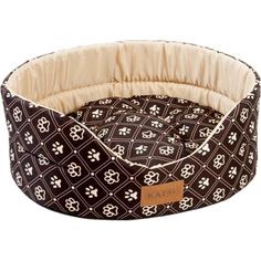 Лежак для собак Katsu Yohanka shine Dog Paws бежево-коричневый размер 4 58x52x20 см