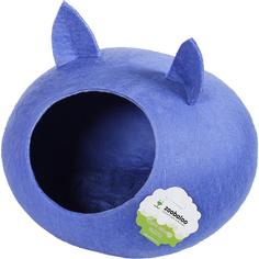 Домик-слипер для кошек Zoobaloo WoolPetHouse С ушками синий 40x40x20 см