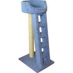 Когтеточка для кошек Пушок Лежанка с лестницей ковролиновая 60x45x115 см
