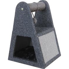 Дом-когтеточка для кошек Foxie С игрушкой сизаль 35x30x46 см серый