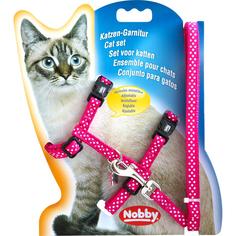 Шлейка и поводок для кошек NOBBY Горошек Розовый