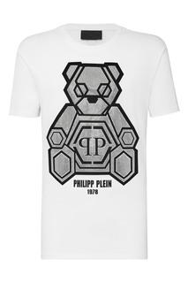 Белая футболка со стразами и надписями Philipp Plein