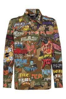 Куртка с камуфляжным принтом и нашивками Philipp Plein