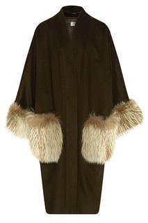 Кашемировое пальто с меховым декором Izeta
