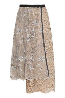 Бежевая юбка из кружева и сетки с вышивкой Antonio Marras