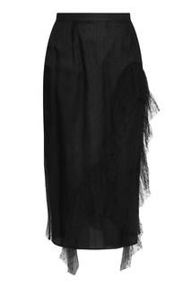 Черная юбка-карандаш с ажурным узором Antonio Marras
