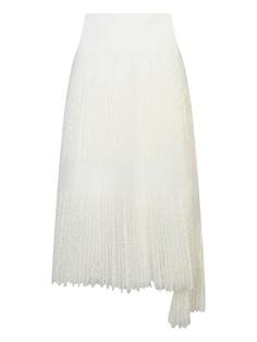 Белая плиссированная юбка с кружевом Ermanno Scervino