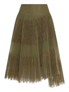 Зеленая плиссированная юбка с кружевом Ermanno Scervino