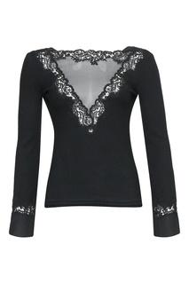 Черная блузка с кружевом Ermanno Scervino