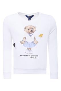 Белый свитшот с рисунком Ralph Lauren Kids