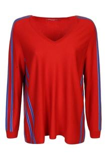 Красный пуловер с контрастной отделкой Marina Rinaldi