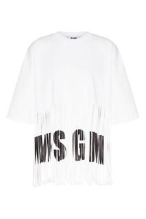 Белая футболка с бахромой и логотипом Msgm