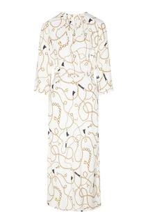 Платье с отделкой, принтом и поясом Laroom