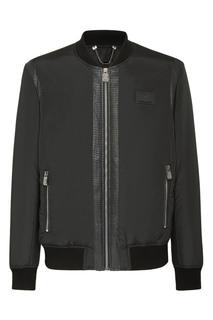 Черная куртка со вставкой из кожи рептилии. Billionaire