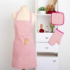 Фартук с прихваткой и рукавицей Розовые полоски Этель