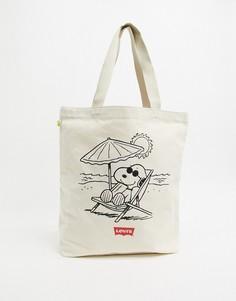Пляжная сумка-тоут с принтом Снупи Levis Рeanuts-Бежевый