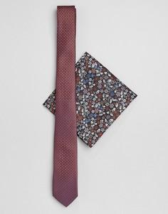 Узкий фактурный галстук и платок-паше с цветочным принтом ASOS DESIGN-Мульти
