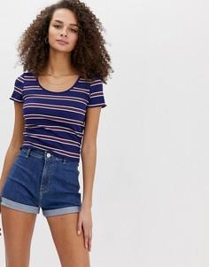 Полосатая футболка в рубчик Brave Soul-Синий