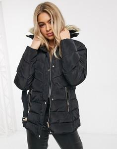 Дутое пальто с поясом и искусственным мехом на капюшоне AX Paris-Черный