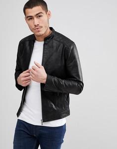 Кожаная куртка со стегаными вставками Solid-Черный !Solid