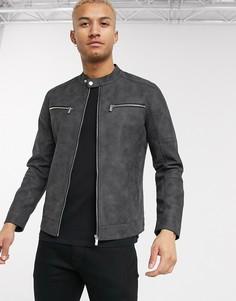Серая байкерская куртка из искусственной замши Only & Sons-Серый